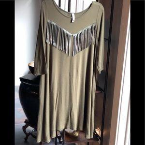 Girls Pomelo Olive Fringed Dress w/ Pockets Size L